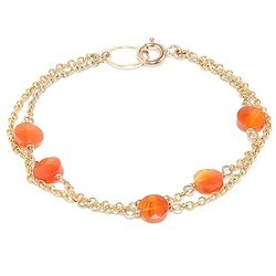 Orange Chalcedony Smooth Double Chain Micron Gold Womens Girls Bracelet