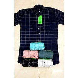 Collar Neck Mens Casual Cotton Check Shirt