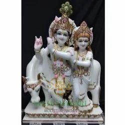 Marble Radha Krishna With Cow Statue