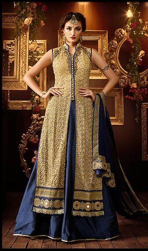 7dea6e0830 Semi-Stitched Ceremonial Beige Color Embroidered Net Designer Salwar Suit