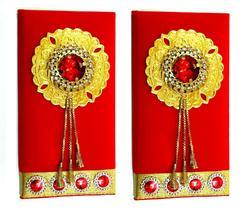 Artshai Red Velvet Shagun Envelope for Festivals and Functions (Pack of 2)