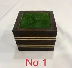 Square Wooden Flower Pot with Grass for Home