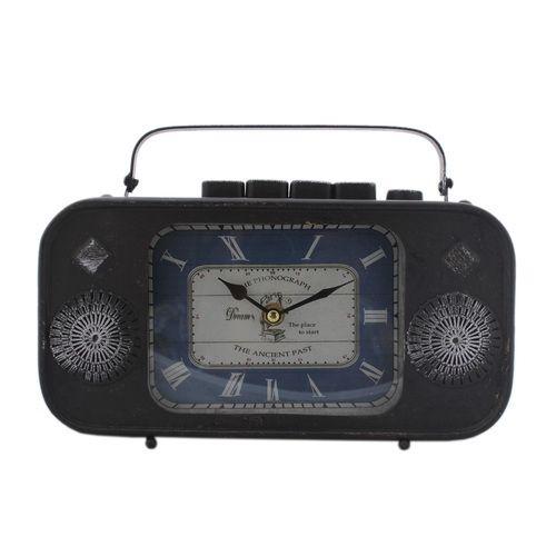 Metal Table Clock Vintage Design Antique Radio