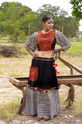 Black And Lining Cotton Chaniyo With Flounce Sleeve Top