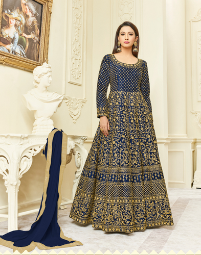 b54539b5d1 Blue And Golden Shahbeez Designer Anarkali Salwar Suit, Rs 2890 ...