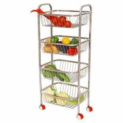 Parasnath Mirror Finish 4 Shelf Square Vegetable & Fruit Trolley