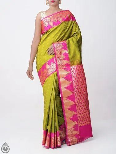 3b2ba79a541490 Kanchipuram Silk Cotton Saree with Peacock Border, Length: 6.40 m (with  Blouse)