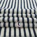 Blue Stripe Hand Block Print Cotton Fabric Natural Color