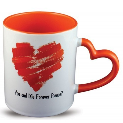 Inner Colour Heart Handle Mug, For Office
