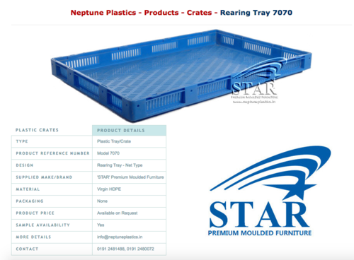 Sericulture Rearing Tray Model 8080 Bottom Closed Model
