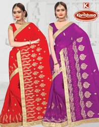 Dyed Georgette Embroidery work Saree with Lace - Aaisha