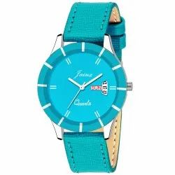 Jainx Turquoise Day and Date Analog Watch for Women & Girls JW614