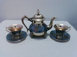 Brass Enamel Colored Tea Set