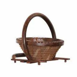Kiyoshi Brown Wooden Fruit Basket, for Home, Restaurant