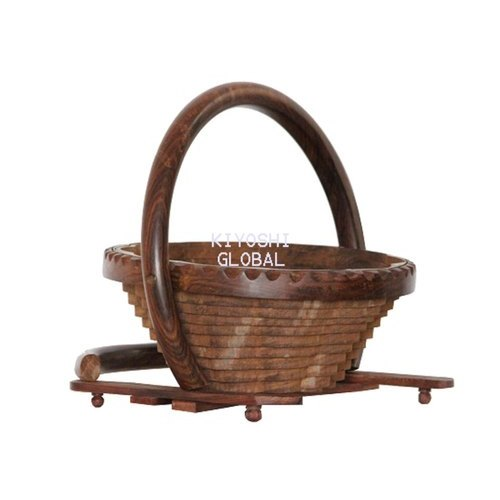 Kiyoshi Brown Wooden Fruit Basket, for Home,Restaurant