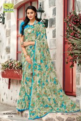 Seymore Floral Print Sarees, With blouse piece, 6.3m