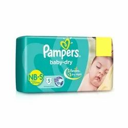 Pampers Baby Dry Nb-s Disposable Cotton Diapers, Size: Small, Age Group: New Born (upto 8 kg)