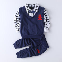 Navy Polo T-Shirt With Bow And Pant Set