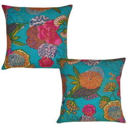 Floral Print Kantha Work Cushion Cover