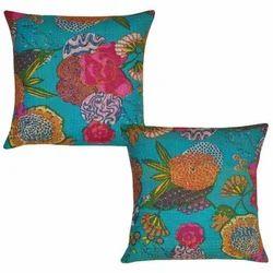 Floral Print Kantha Work Cushion Cover