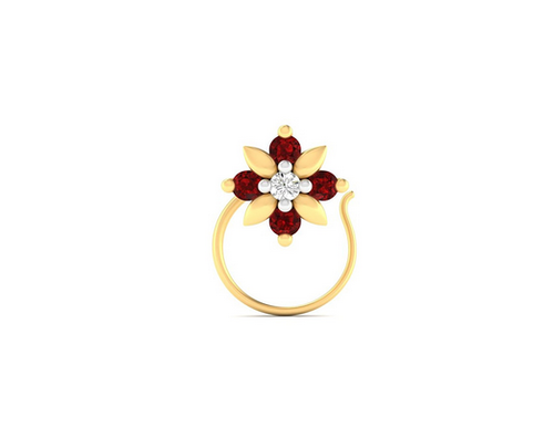Velvetcase Jaipur Collection 14k 585 Yellow Gold And Diamond Nose Ring Rs 4353 Piece Id 16668967648