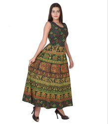 Ladies Jaipuri Green Frock