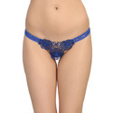 Ladies Embroidered Blue Thong