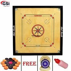 Brown And Beige Wood Carrom Board Full Gloss Finish, Ply Thickness: Approx 4mm, Border Size: 1.5 X 1.25 Inches