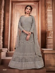 Exclusive Designer Fancy Net Gown With Net Dupatta By Parvati Fabric