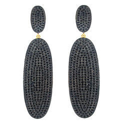 pave setting black spinal silver earring
