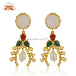 18k Gold Plated Silver Antique Design Pearl Earrings Jewelry