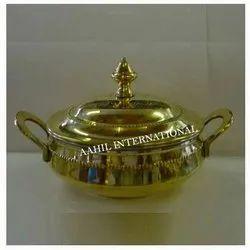 Round Brass Steel Serving Handi Beaded / Brass Steel Serving Dish Beaded