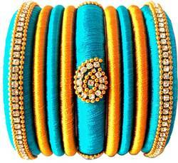 Sky Blue And Golden Designer Silk Thread  Bangle Set