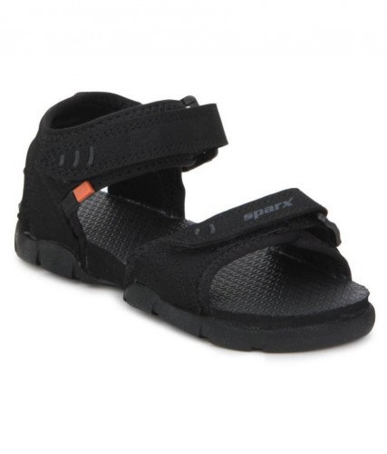 Black Synthetic Sparx SS101 Sandal, Rs