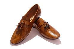 Hush Berry Tassel Synthetic Leather Flat Slip On Shoes For Men(tan)