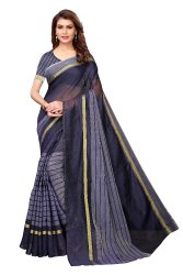Cotton Silk Party Wear Navy Blue Saree With Blouse Piece