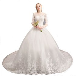imported Women Christian Wedding Gowns Catholics White Train Gown D30T Train
