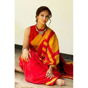 Mulmul Cotton Hand Batik Red Saree