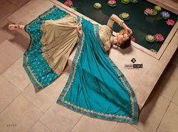 Indian Women Cyan And Beige Color Silk And Lycra Saree