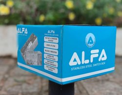 ALFA Stainless Steel Modular Switch Box-2 Modular, Finishing Type: Glass Finish
