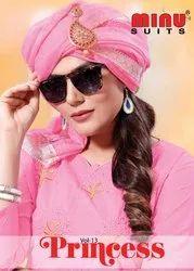 A-Line Churidar Minu Chanderi Designer Embroidered Salwar unstitched, Machine wash