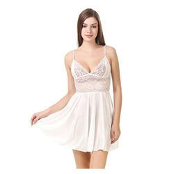 Ladies White Satin Short Nightdress