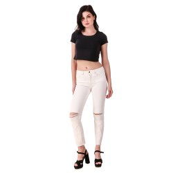Snugg Fit Stretchable Ladies H&M White Knee Cut Denim Jeans, Waist Size: 26-32