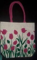 Printed Jute Ladies Bag, Size: 15'' X 14'' X 5'', Capacity: 6 Kg