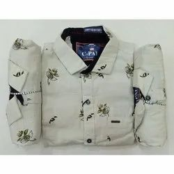 Mens Casual Printed Cotton Shirt, Size: 38-42