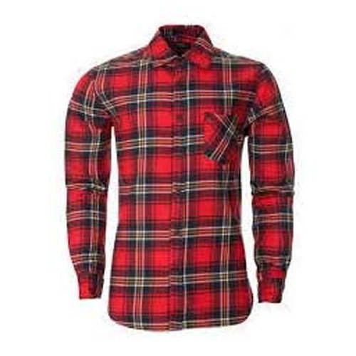 079364537 Men''s Red And Black Check Shirt