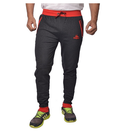 1182aad7c538 Mens Cotton Track Pants With Zipper Pockets ( Black- Red) at Rs 499 ...