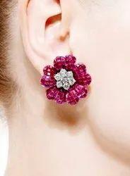 Jewel Ora CAD Earring Studs 22kt with Ruby Gemstone 5gm