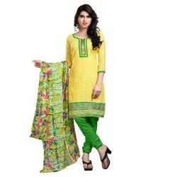Yellow Colored Brasso Cotton Embroidery Unstitched Casual Wear Salwar Suit