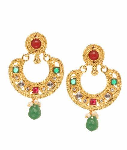 de2d2a718 Bindhani Copper Chandbali Dangle Red Green Polki Kundan Earring, Shape:  Chandbali
